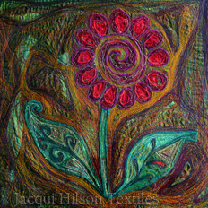 """Vibrant Flower"" textile piece: machine embroidered bright red flower on a swirly green, purple and yellow background"