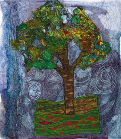 """By Streams"" textile piece: embroidered tree with soluble fabric."
