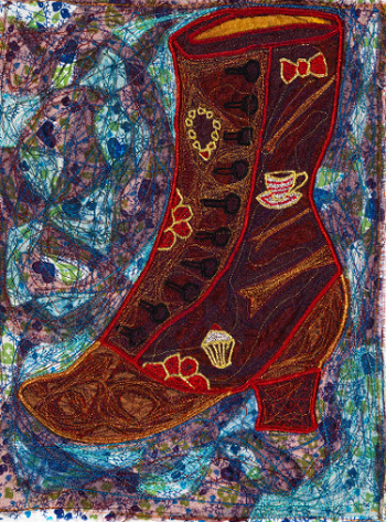 """Victorian Boot"" textile piece: embroidered boot"