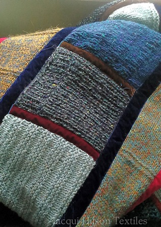 """Helen"" throw: blue, grey and orange patchwork throw with strips of navy blue, red and brown velvet."
